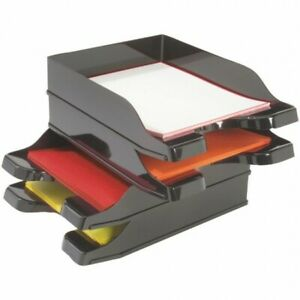 Document Tray Stackable Office Supplies Home Desk Letter Organizer Trays 2 Pack