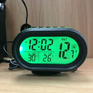 Car Lcd Digital Clock Thermometer Backlight Voltage Meter Monitor Alarm Nd
