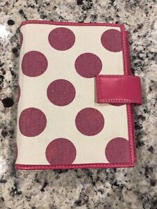 Compact 1 0 Pink White Polka Dots Canvas Franklin Covey 365 Planner Binder