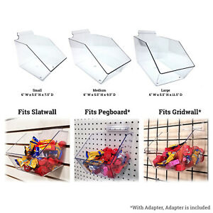 Slatwall Gridwall Or Pegboard Acrylic Bin 6 W X 5 5 H Small Medium Or Large