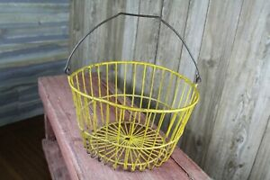 Vintage Wire Egg Harvest Basket Faded Yellow Old Farm House Kitchen Decor