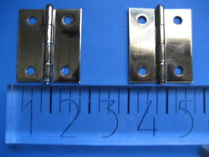Pair Vintage Brass Plated Hinges Nos Sears Usa