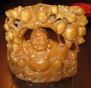 Old Chinese Exquisite Pearwood Carving Of Happy Smiling Buddha With Baby Buddhas