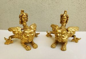 A Superb Pair Of French Gilt Bronze Mounts With Satyr