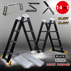 Aluminium Folding Ladder Step Telescoping Extension Multi Purpose With Platform