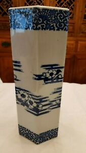 Antique Circa 1875 Blue White Porcelain Pottery Vase Asian Art Octagon Shape