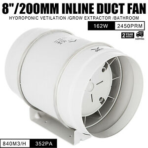 8in Inline Duct Fan Hydroponic Ventilation Blower Abs Plastic Booster 352pa