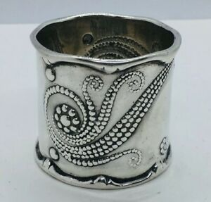 Whiting Antique Aesthetic Sterling Silver Fantasy Bead Pattern Napkin Ring