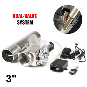 3 76mm Electric Exhaust Dual Valve Cutout Downpipe Y Pipe Wireless Remote