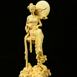 Boxwood Wood Carving Chang E Statue Mythological Figure Sculpture Collection New