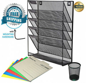 Mesh Wall File Holder Organizer 5 Tier Hanging Mounted Rack For