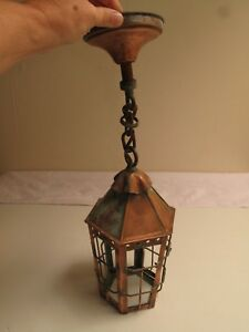 Vtg Arts Crafts Tudor Copper Porch Light Ceiling Fixture Hand Made No Glass