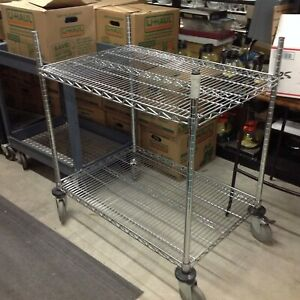 Nexel Rolling Galvanized Steel Adjustable Cart With 2 Wire Shelves
