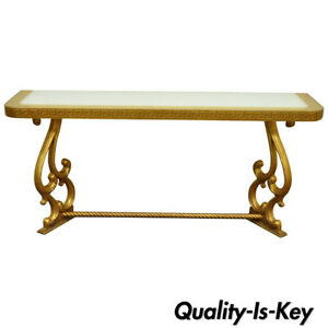 Vintage Hollywood Regency Gold Leaf Greek Key 66 Long Glass Top Console Table