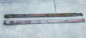 Primitive Antique Hand Forged Barn Door Strap Hinge Gate Iron 55 Long 3 Wide