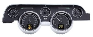1967 1968 Ford Mustang Dakota Digital Black Alloy Hdx Custom Color Gauge Kit