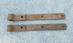 Primitive Antique Hand Forged Barn Door Strap Hinge Gate Iron 14 Long 1 5 Wide