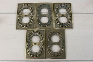 Lot 5 Vintage 1974 Brass American Tack Hardware Outlet Plug Covers Victorian