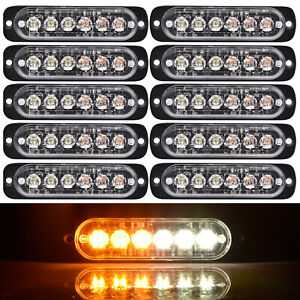 10 Pcs 6 Led Warning Strobe Flashing Light Vehicle Flash Emergency Amber white