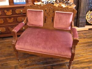 Victorian Eastlake Parlor Settee Bustle Chair