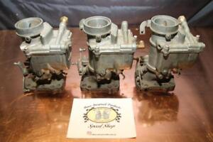Nos 3x1 Tri Power Carburetor Marvel Schebler W 2bbl Universal Adapter Flanges