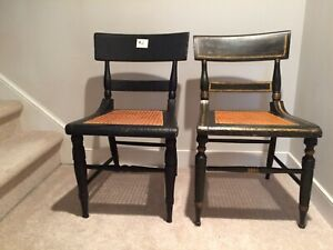 Antique Side Chairs Pair W Cane Seat Black Wood Frame Hitchcock Style Pair 2