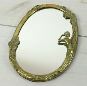 Antique Art Deco Nouveau Brass Oval Fair Lady In The Mirror Figural Vanity Wall