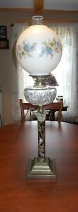 Antique Banquet Parlor Lamp Electrified But Could Be Converted Back 31 50 Tall