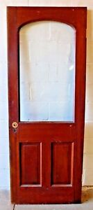 1800s Antique Wood Entry Door Arch Top Original Glass Victorian Style Fir Ornate