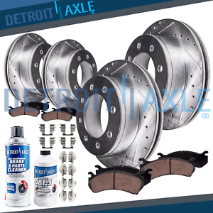 Chevy Gmc Silverado Sierra 2500 Front Rear Drilled Brake Rotors Ceramic Pads