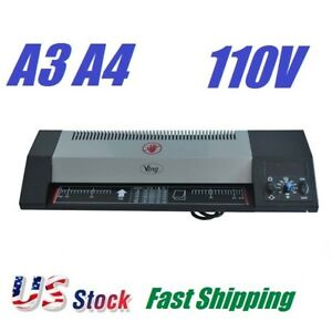Steel Thermal Laminator A3 A4 Hot Cold 13 Machine Roller Pouch Photo Office