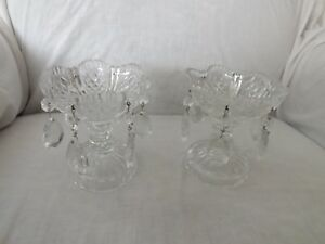 Antique Pair Of Clear Cut Crystal Candle Holders W Saw Tooth Edge With 6 Prisms