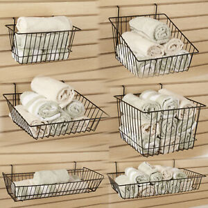 Slatwall Gridwall Pegboard Retail Wire Baskets Black White Or Silver 6 Pack