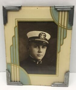 Antique Art Deco Reverse Painted Picture Frame Wwi Navy Officer Lt Pic 1918