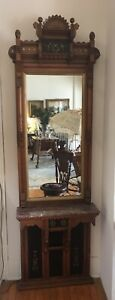 Victorian Eastlake Antique Walnut Pier Mirror