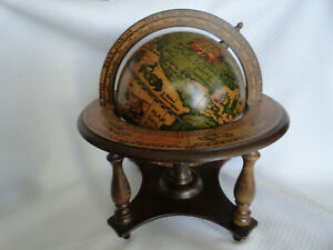Old World Wood Globe With Stand Astrology Italy 11 Tabletop