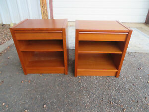 Pair 2 Mid Century Modern Danish Teak Nightstands Hundevad For Jesper Intern