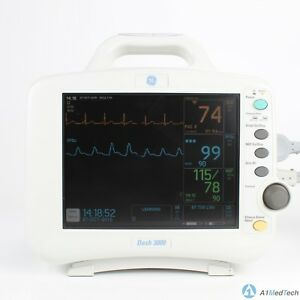 Ge Dash 3000 Patient Monitor With Spo2 Nibp Ecg Temp Co And Cables