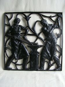 1930 Art Deco Cast Iron Blacksmiths Hammering On An Anvil Wall Panel Very Rare