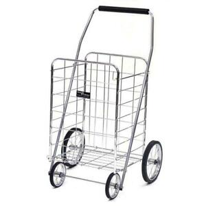 Folding Shopping Cart Jumbo Grocery Laundry Travel Basket Steel Utility Trolley