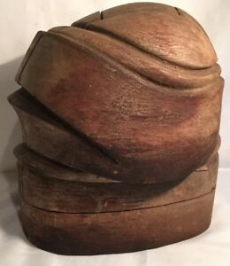 Early 1900 S Wood Millinery Puzzle Antique Hat Block Hat Mold Form Capitol Hat