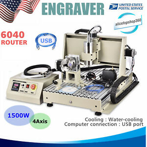 Usb 6040 Engraver 4 Axis 1 5kw Vfd Milling Carving Router Machine 3d Cutter Usa
