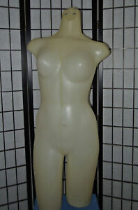 Hard Plastic Tabletop White Female Action Motion Torso Upper Body Mannequin