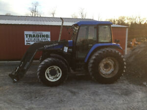 2002 New Holland Ts110 4x4 Farm Tractor W Cab Loader