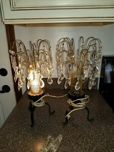 Pair Of Vintage Lamps With Acrylic Prisms Bedroom Lamps