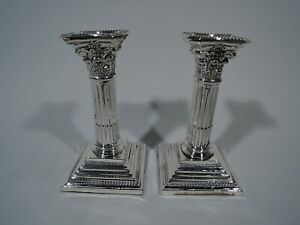 Edwardian Candlesticks Classical Pair English Sterling Silver Chester 1904