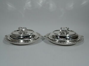 Tiffany Serving Dishes 14762 Pair Vegetable Bowls American Sterling Silver