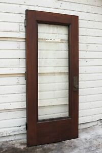 Antique Vintage Wood Exterior Entrance Door Beveled Glass Mortise 80x36 Approx