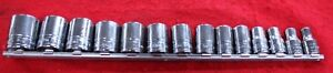Snap On 1 2 Drive 12 Point Sae Flank Drive Shallow Socket Set Of 14 3 8 1 3 16