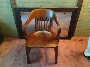 Antique Sikes Solid Wood Office Barrister Lawyers Banker Jury Jurors Arm Chair